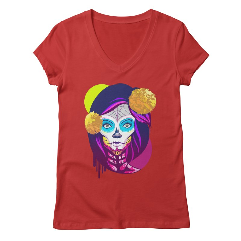 Lady Catrina: Day of Dead Women's Regular V-Neck by moyart's Artist Shop