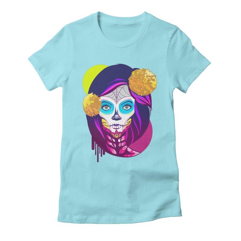 Lady Catrina: Day of Dead Women's Fitted T-Shirt by moyart's Artist Shop