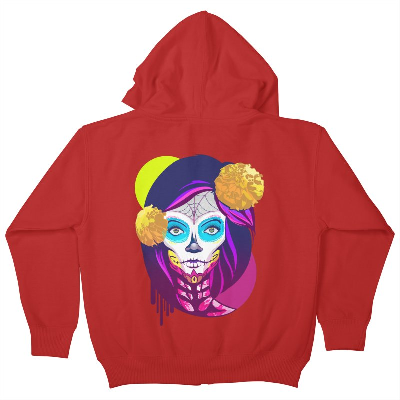 Lady Catrina: Day of Dead Kids Zip-Up Hoody by moyart's Artist Shop
