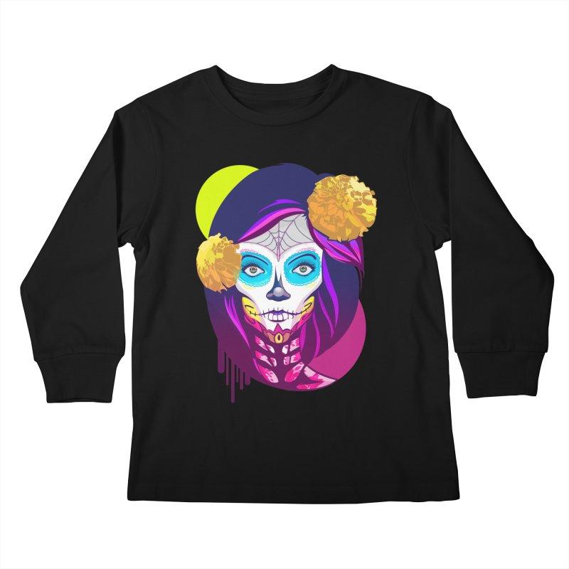 Lady Catrina: Day of Dead Kids Longsleeve T-Shirt by moyart's Artist Shop