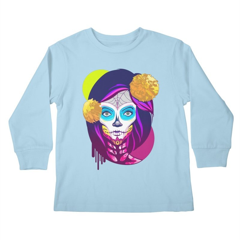 Lady Catrina: Day of Dead Kids Longsleeve T-Shirt by moyart's Artist Shop