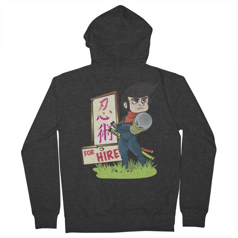 Ninja For Hire Men's French Terry Zip-Up Hoody by moyart's Artist Shop