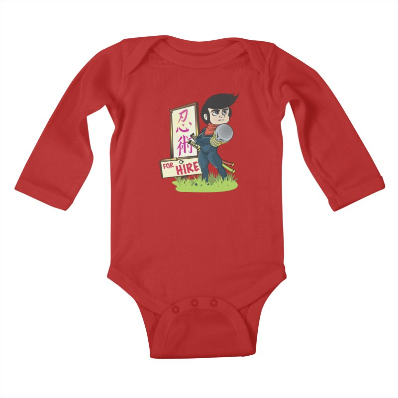 Ninja For Hire Kids Baby Longsleeve Bodysuit by moyart's Artist Shop