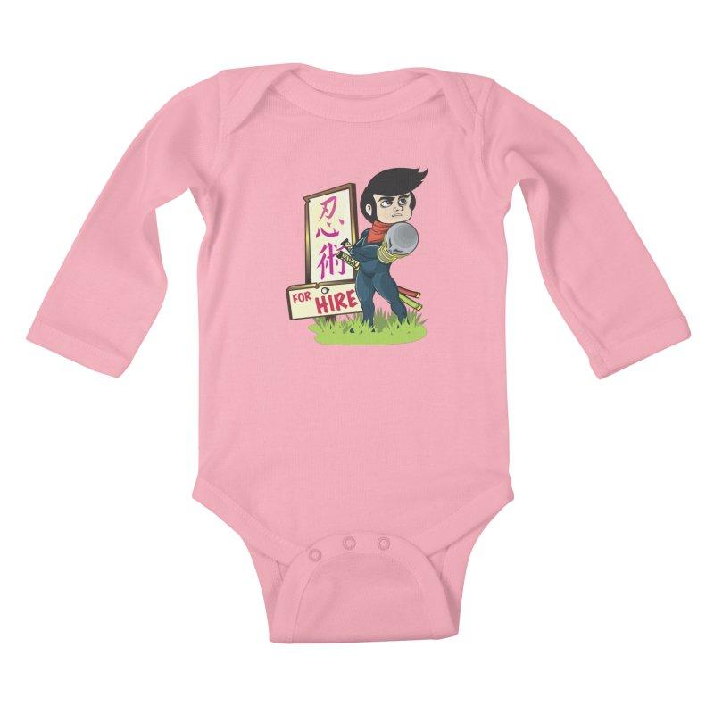 Ninja For Hire Kids Baby Longsleeve Bodysuit by moyart's Artist Shop