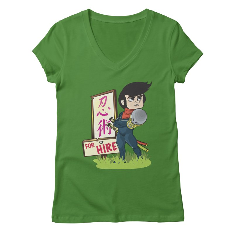 Ninja For Hire Women's Regular V-Neck by moyart's Artist Shop