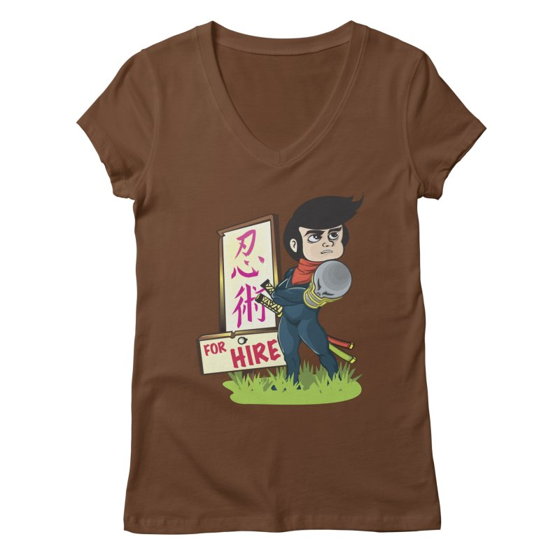 Ninja For Hire Women's V-Neck by moyart's Artist Shop