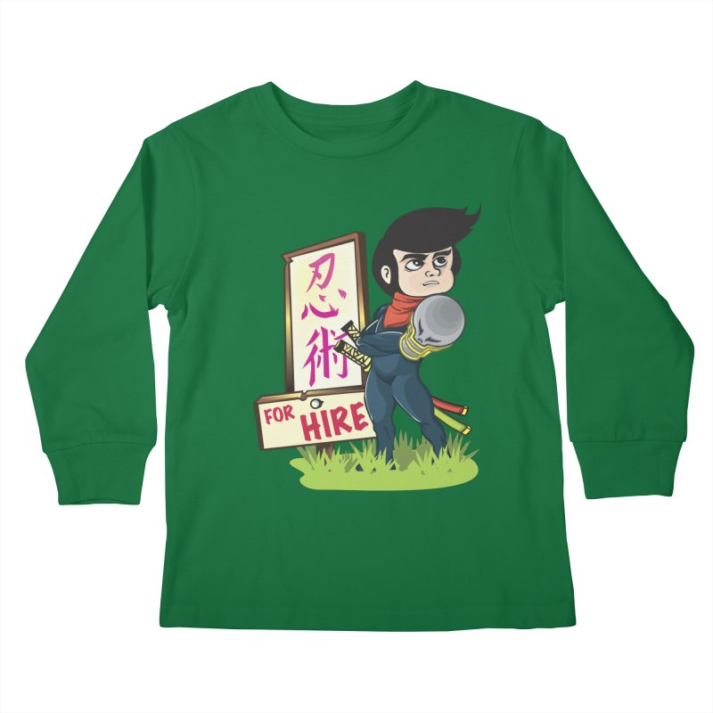 Ninja For Hire Kids Longsleeve T-Shirt by moyart's Artist Shop