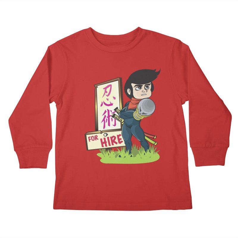 Ninja For Hire Kids Longsleeve T-Shirt by moyart's Artist Shop
