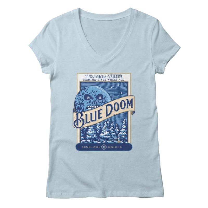 Blue Doom Women's V-Neck by moysche's Artist Shop