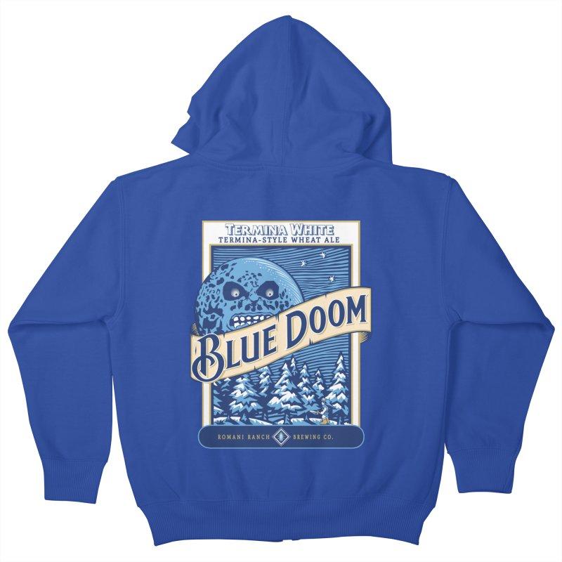Blue Doom Kids Zip-Up Hoody by moysche's Artist Shop