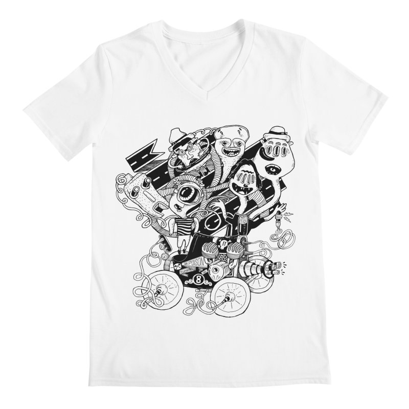 Monster RoadTrip Men's Regular V-Neck by MrCapdevila Artist Shop