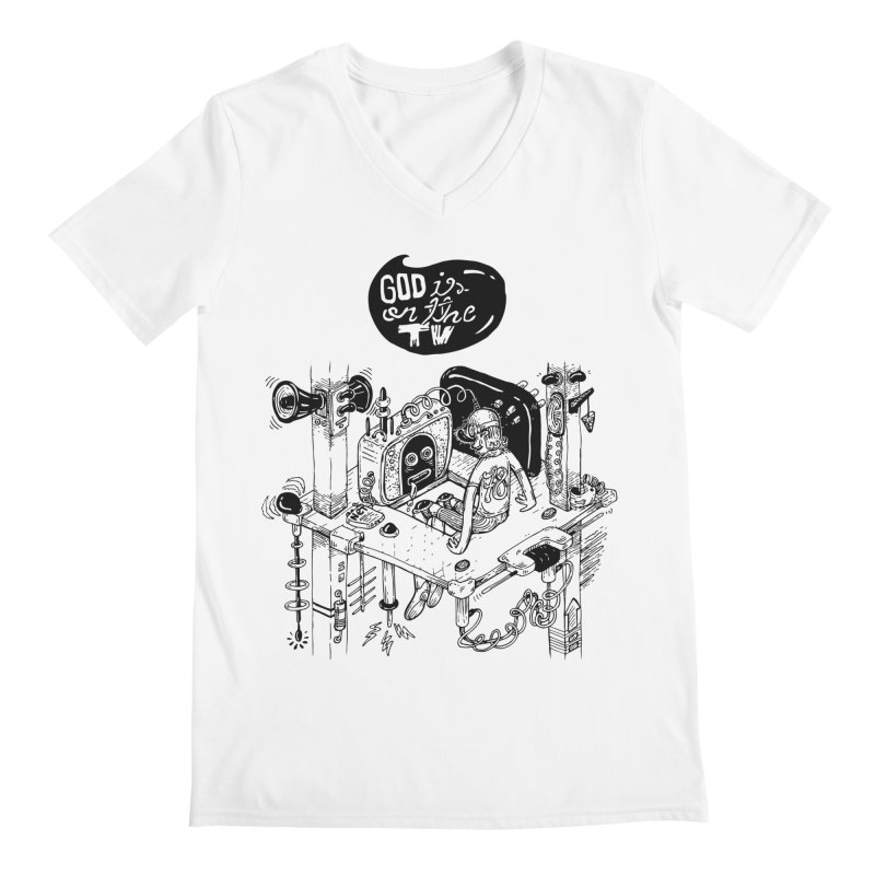 God is on the TV Men's V-Neck by MrCapdevila Artist Shop