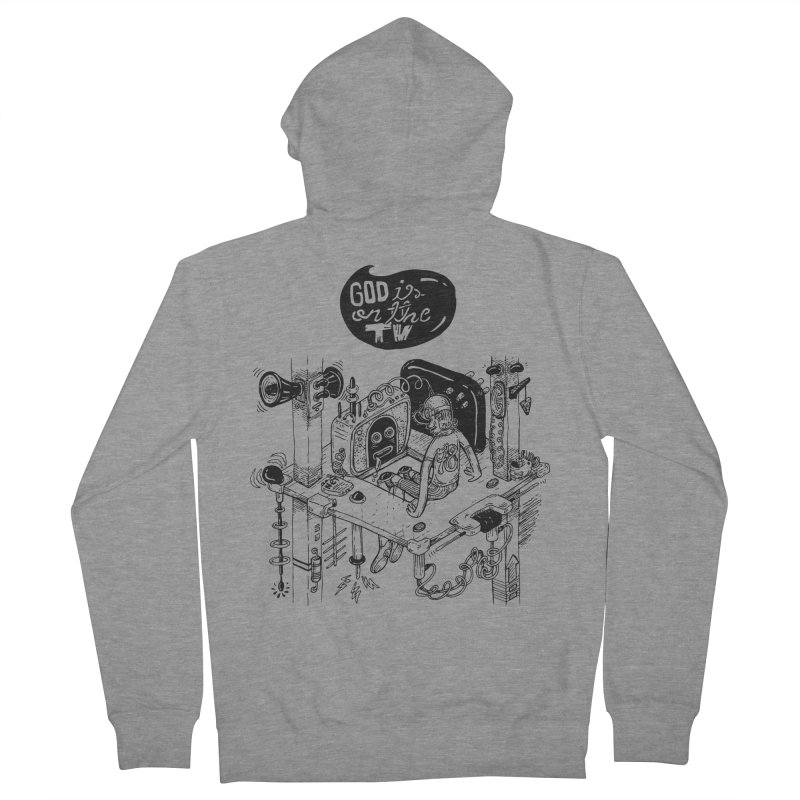 God is on the TV Men's French Terry Zip-Up Hoody by MrCapdevila Artist Shop