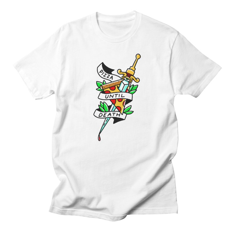 Pizza Until Death Men's T-Shirt by Mr. Chillustrator