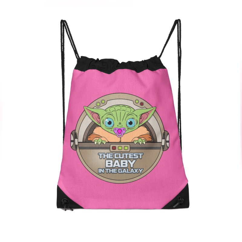 The Cutest Baby in the Galaxy (Girl Version) Accessories Drawstring Bag Bag by mrdelman's Artist Shop