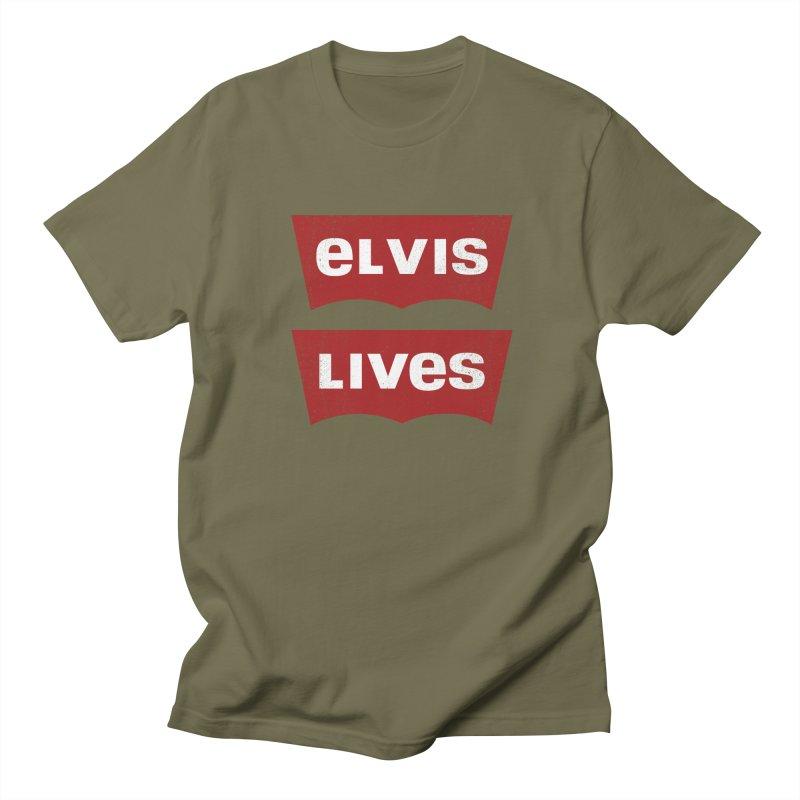 Elvis Lives Men's Regular T-Shirt by mrdelman's Artist Shop