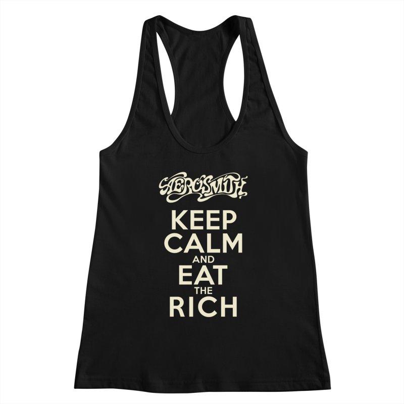Aerosmith - Keep Calm and Eat the Rich Women's Racerback Tank by mrdelman's Artist Shop