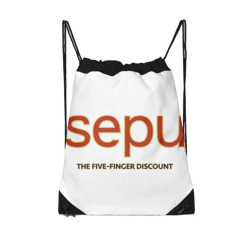 SEPU, your favorite spanish shopping mall Accessories Drawstring Bag Bag by mrdelman's Artist Shop