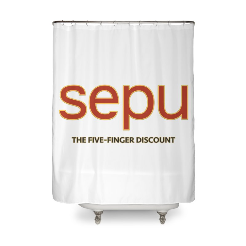 SEPU, your favorite spanish shopping mall Home Shower Curtain by mrdelman's Artist Shop