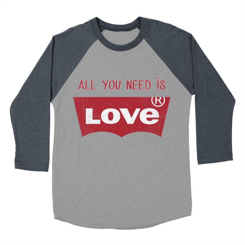 All you need is LOVE ® Men's Baseball Triblend Longsleeve T-Shirt by mrdelman's Artist Shop