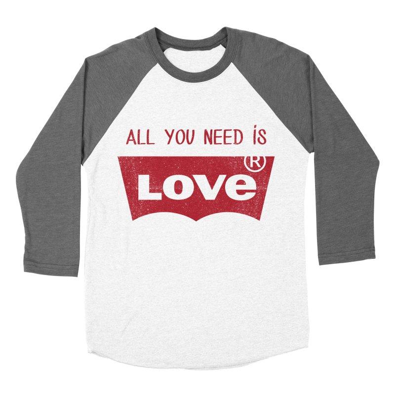 All you need is LOVE ® Men's Baseball Triblend Longsleeve T-Shirt by mrdelman's Artist Shop