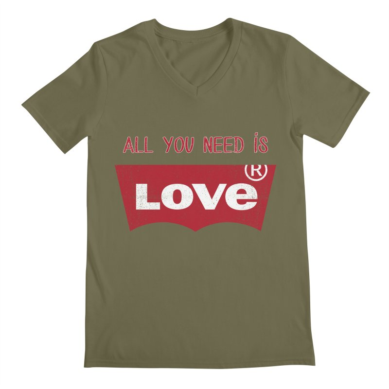All you need is LOVE ® Men's Regular V-Neck by mrdelman's Artist Shop