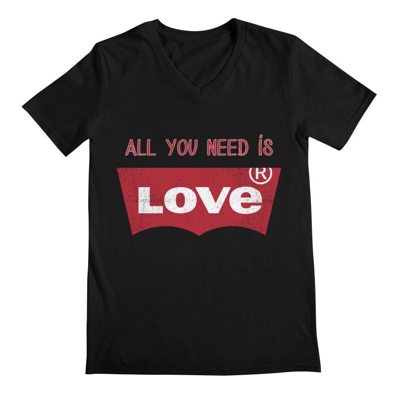 All you need is LOVE ® Men's Regular V-Neck by mrdelman's Artist Shop