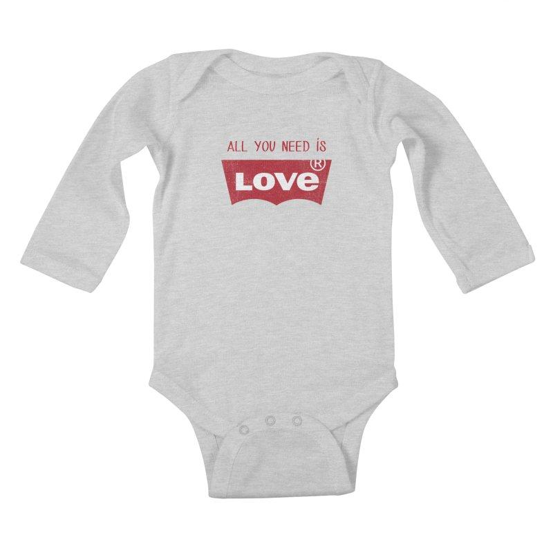 All you need is LOVE ® Kids Baby Longsleeve Bodysuit by mrdelman's Artist Shop