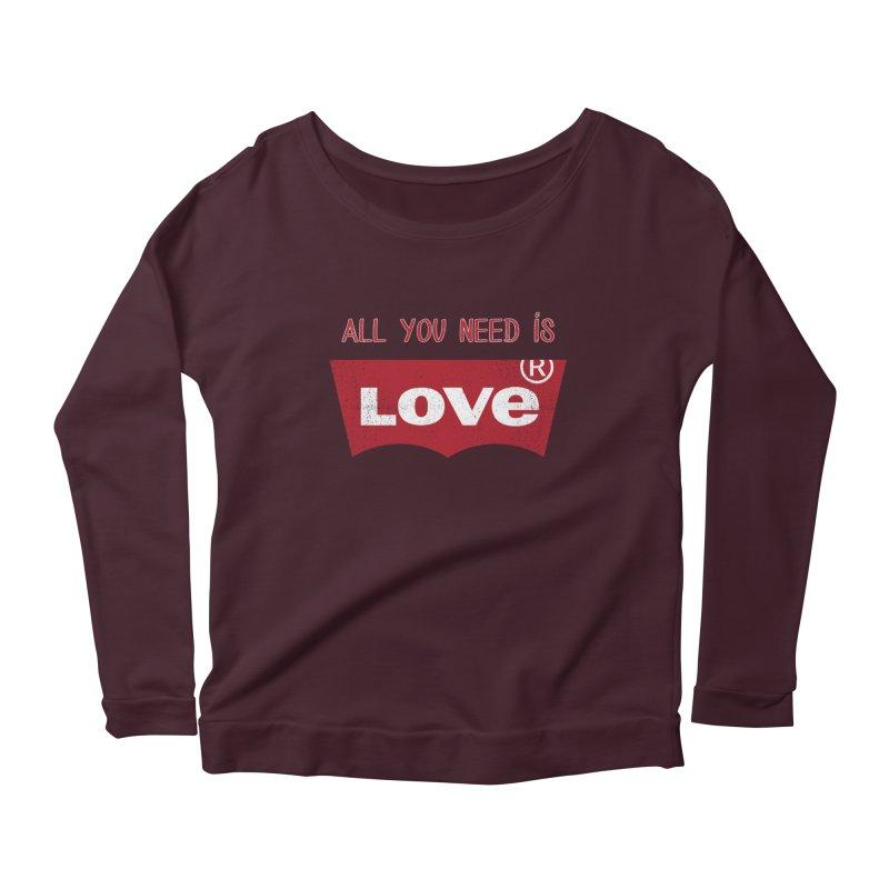 All you need is LOVE ® Women's Scoop Neck Longsleeve T-Shirt by mrdelman's Artist Shop