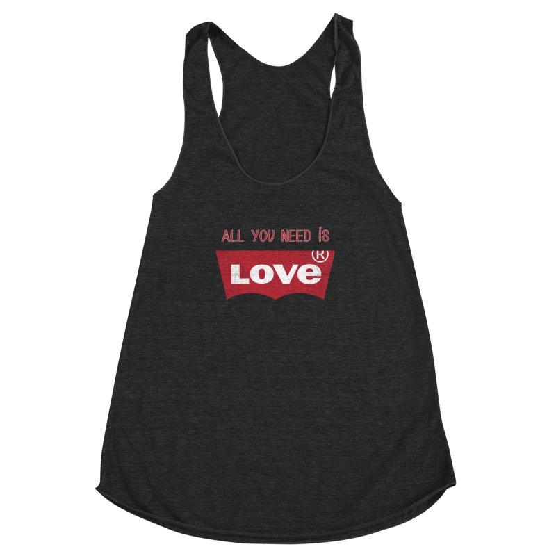 All you need is LOVE ® Women's Racerback Triblend Tank by mrdelman's Artist Shop