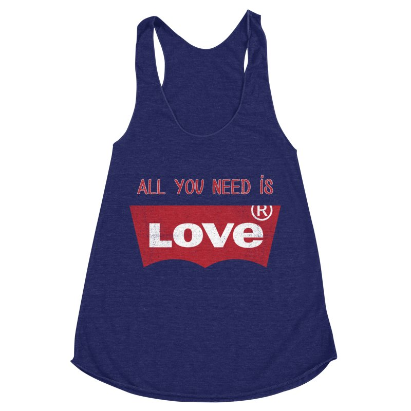 All you need is LOVE ® Women's Racerback Triblend Tank by mrdelman's Artist Shop