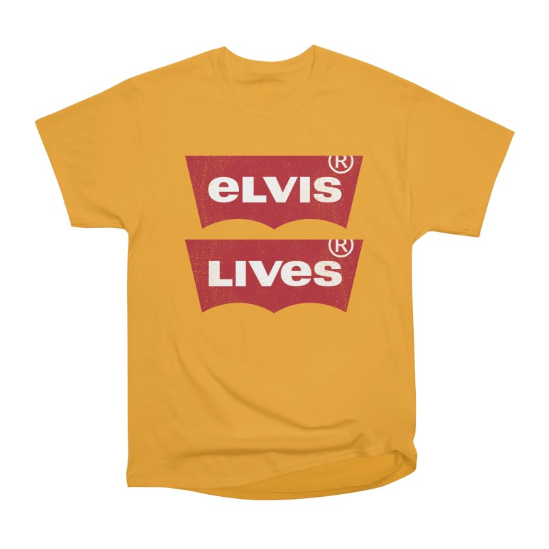 Elvis Lives! - (v2) Men's Heavyweight T-Shirt by mrdelman's Artist Shop
