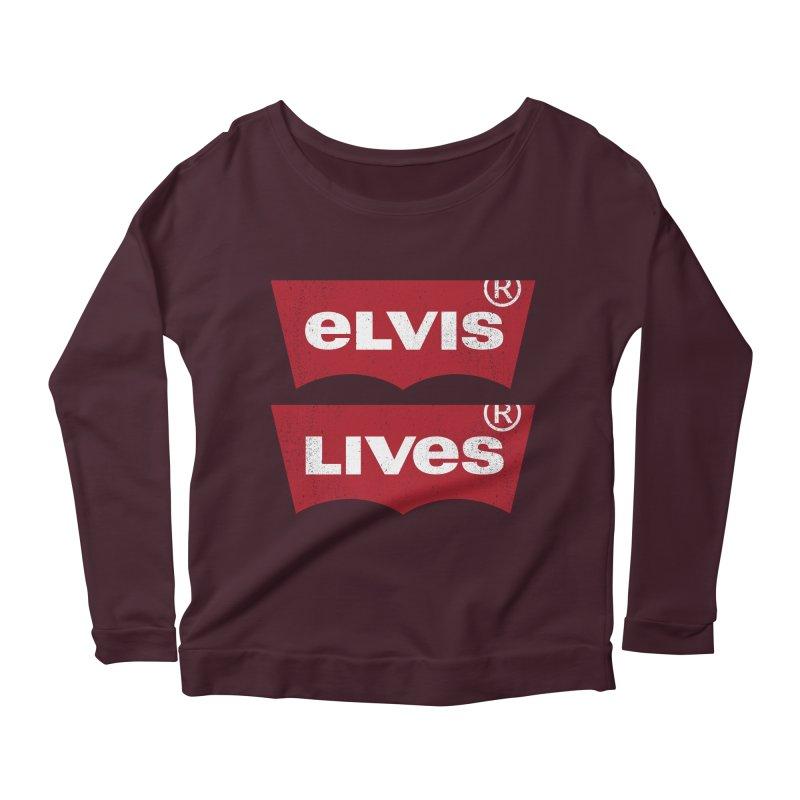 Elvis Lives! - (v2) Women's Longsleeve Scoopneck  by mrdelman's Artist Shop