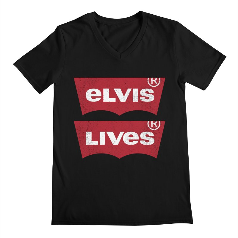 Elvis Lives! - (v2) Men's Regular V-Neck by mrdelman's Artist Shop