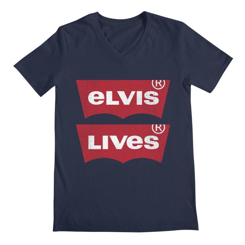 Elvis Lives! - (v2) Men's Regular V-Neck by mrdelman's Artist Shop