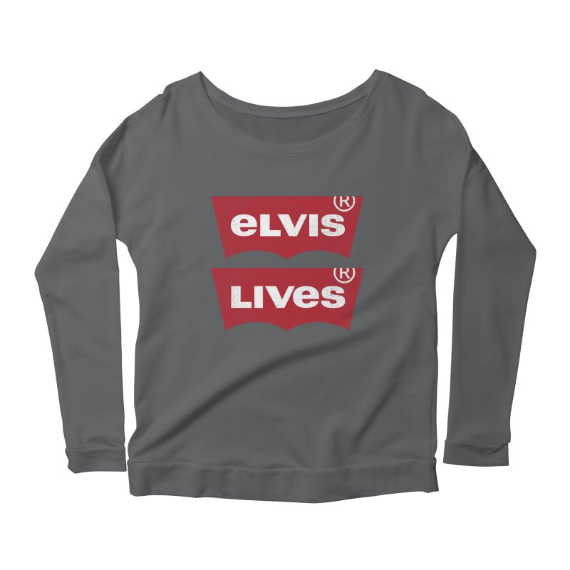 Elvis Lives! - (v2) Women's Scoop Neck Longsleeve T-Shirt by mrdelman's Artist Shop