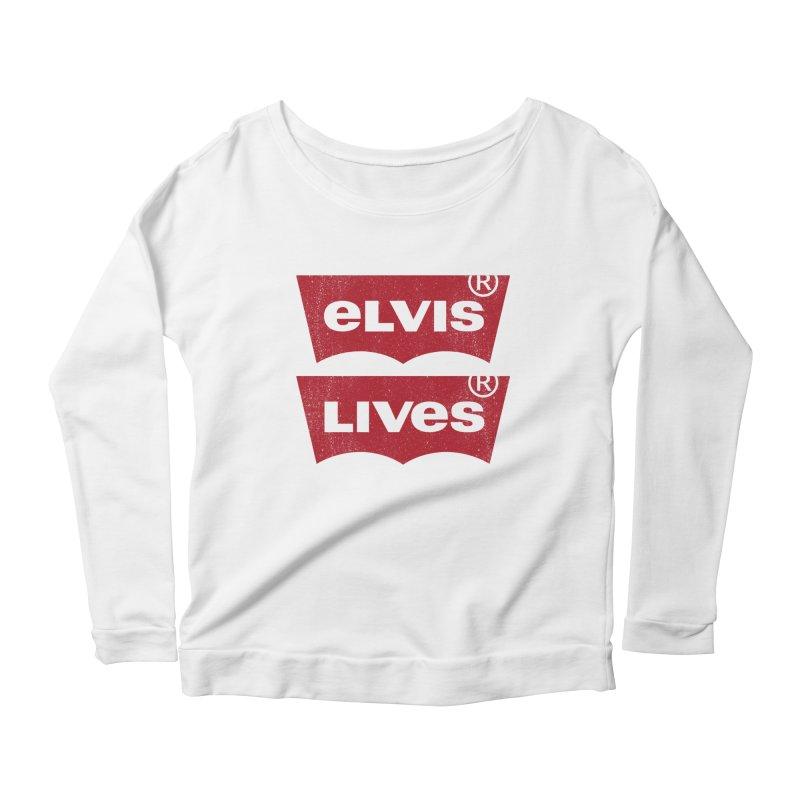 Elvis Lives! - (v2) Women's Scoop Neck Longsleeve T-Shirt by mrdelman's Artist Shop