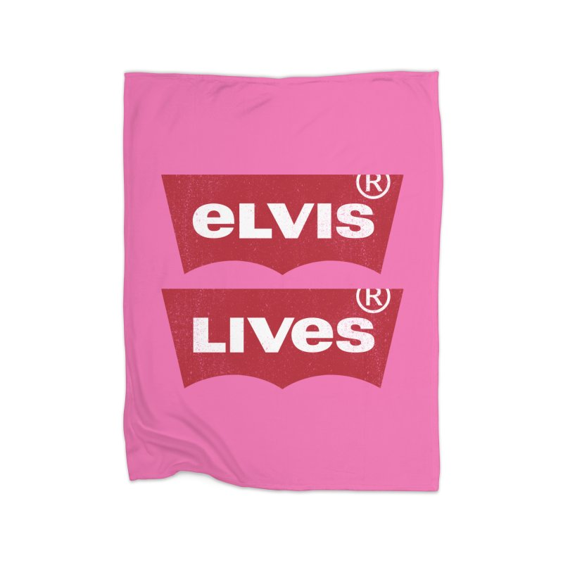Elvis Lives! - (v2) Home Fleece Blanket Blanket by mrdelman's Artist Shop