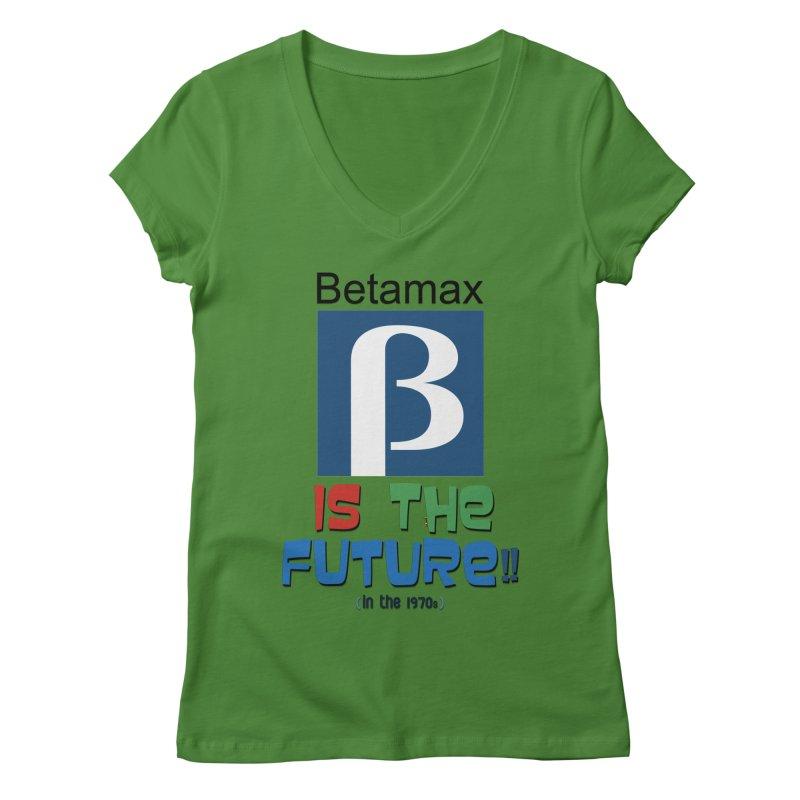 Betamax is the future!! (in the 70s) Women's Regular V-Neck by mrdelman's Artist Shop