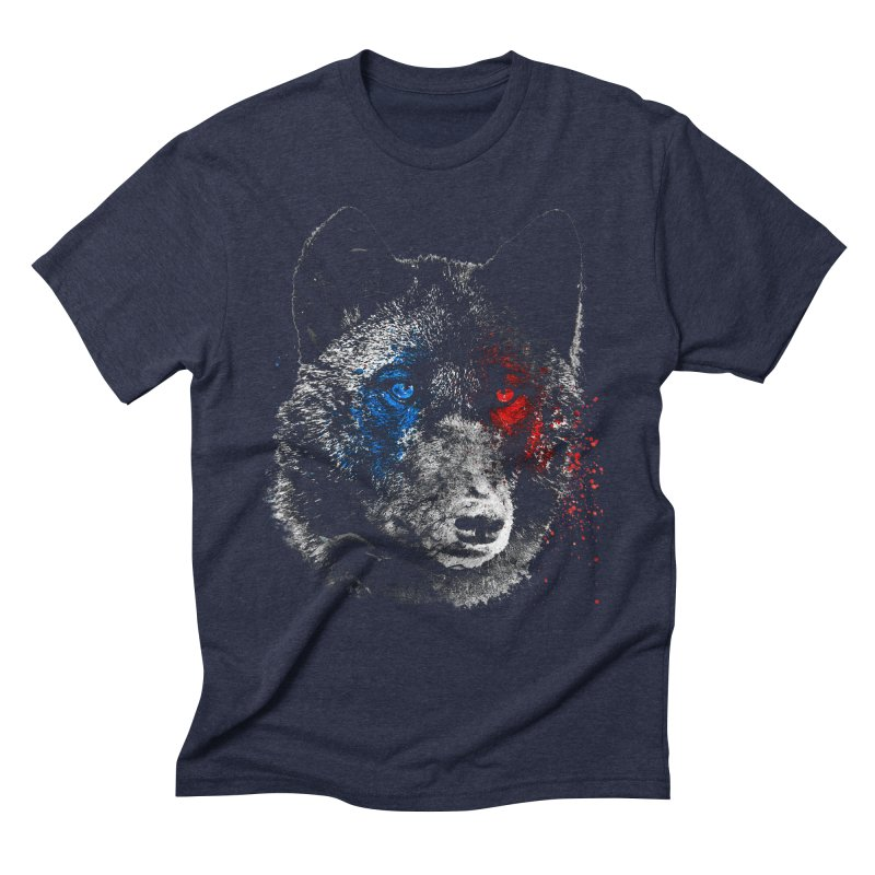 3d Wolf in Men's Triblend T-Shirt Navy by Misterdressup