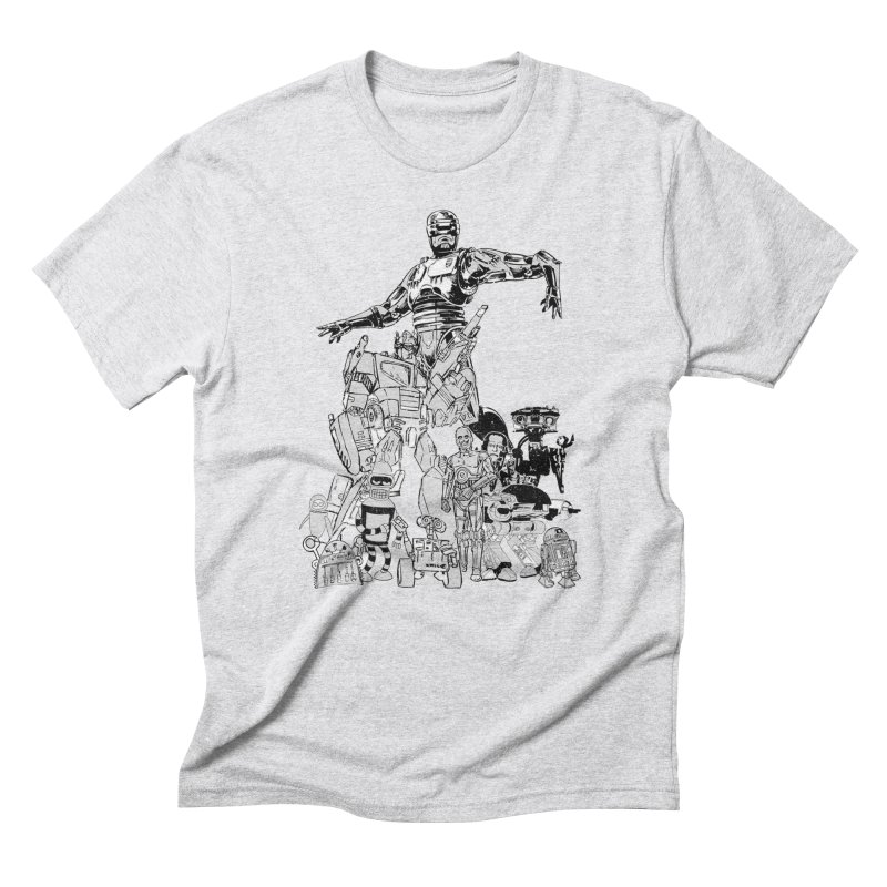 All Star Robots in Men's Triblend T-Shirt Heather White by Misterdressup
