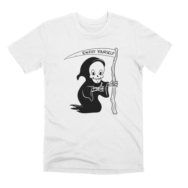 Cute Grim Reaper Says Enjoy Yourself Men's T-Shirt by M. R. Kessell's Artist Shop