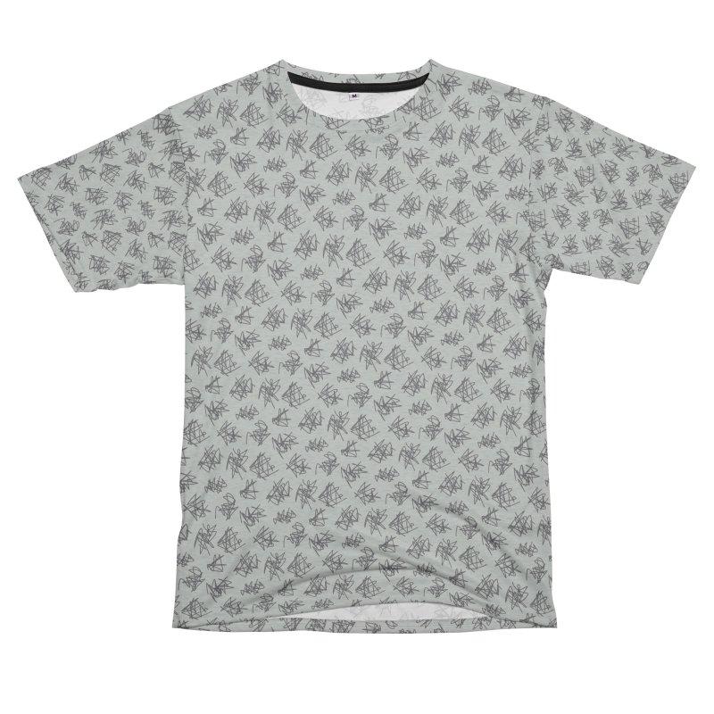 Scribble Motif Pattern Men's French Terry T-Shirt Cut & Sew by Mr Loco Motif