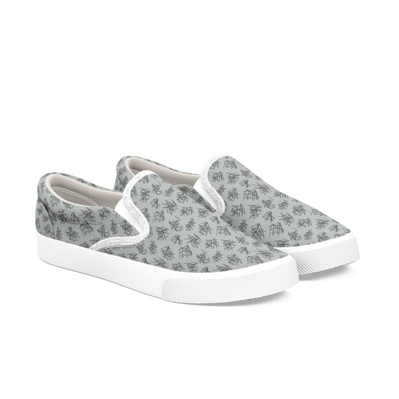 Scribble Motif Pattern Women's Slip-On Shoes by Mr Loco Motif