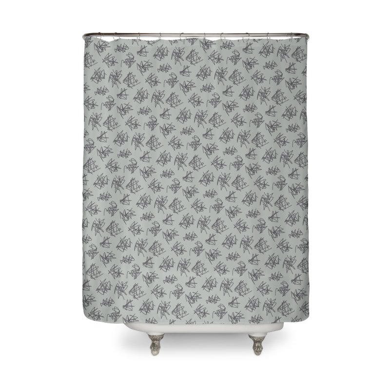 Scribble Motif Pattern Home Shower Curtain by Mr Loco Motif - Artist Shop