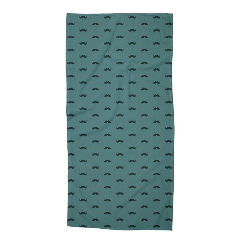 Mustache Motif Pattern Accessories Beach Towel by Mr Loco Motif