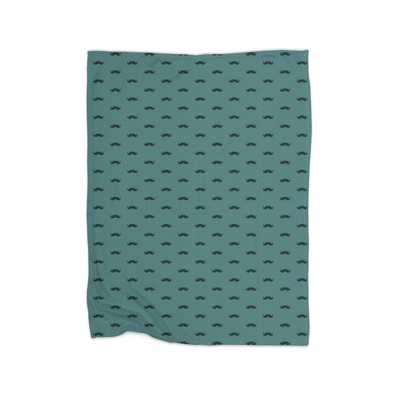 Mustache Motif Pattern Home Fleece Blanket Blanket by Mr Loco Motif