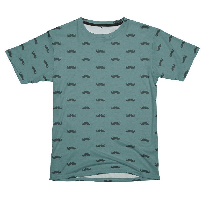 Mustache Motif Pattern Women's Unisex French Terry T-Shirt Cut & Sew by Mr Loco Motif