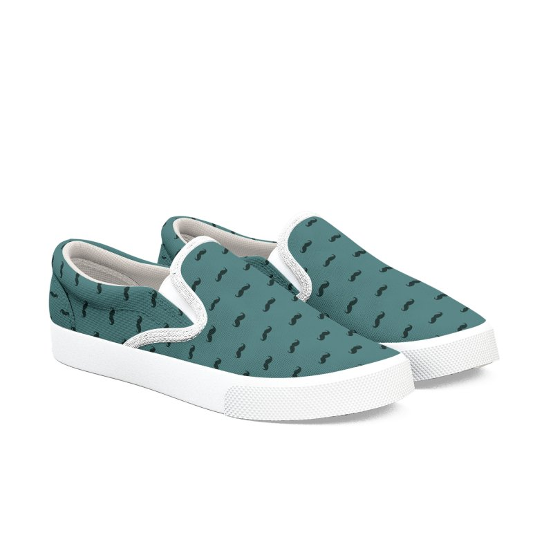 Mustache Motif Pattern Women's Slip-On Shoes by Mr Loco Motif
