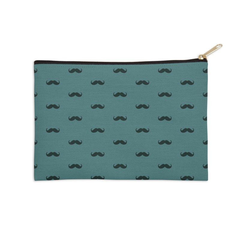 Mustache Motif Pattern Accessories Zip Pouch by Mr Loco Motif